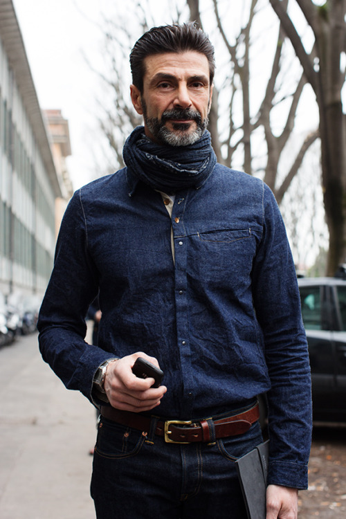 menswearmonday:  denim on denim #streetstyle happens