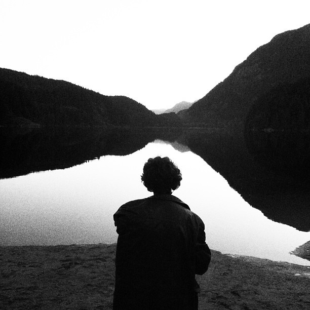 Dave waiting for the sunrise.  #buntzenlake #vancouver  (at Buntzen Lake)
