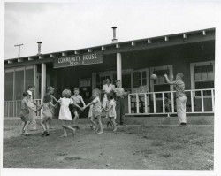Unidentified woman watching children play at Community House No. 1 in the Ford, Bacon, & Davis Trailer Park near K-25. (09/07/1944)2010.012.0468PRO 193
