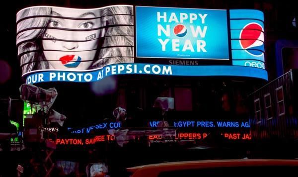 Beyonce - Did u see @Beyonce's billboard on #NYE? Help us welcome her to the @SuperBowl!   #PepsiHal