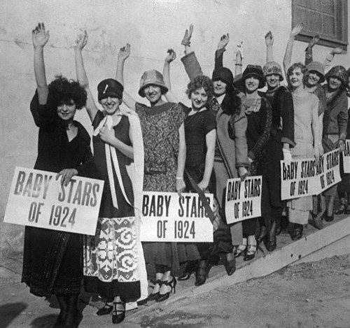Clara Bow in the front of the line of Wampas Baby Stars of 1924 in Hollywood, California