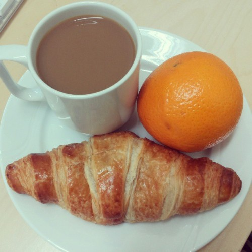 #morning #coffee #croisant #fruit #food