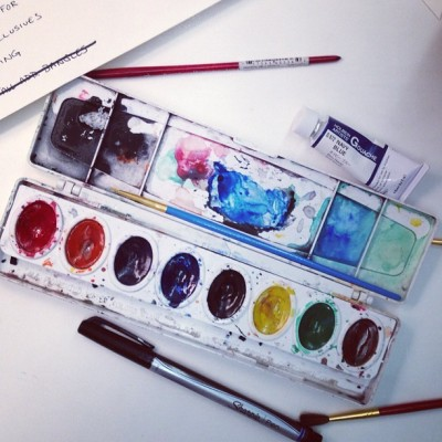 katespadeny:  afternoon watercolors. why not? #livecolorfully  (at kate spade new york)  Ok