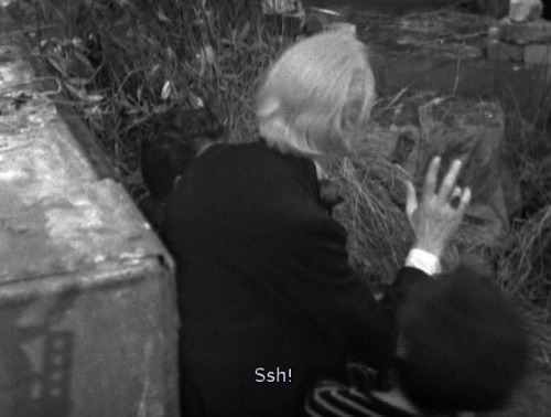 The first scene of episode 4, and as William Hartnell is tucked up in bed at home with a back injury, we have fake William Hartnell playing him for five seconds before he groans and passes out. (His double here also plays his robot double in 'the Chase'). Not sure we noticed this wasn't him when we first watched this.