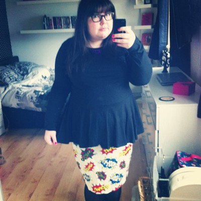 Not sure if bopping so wearing my comic skirt instead :) #ootd #fatshion #plussize