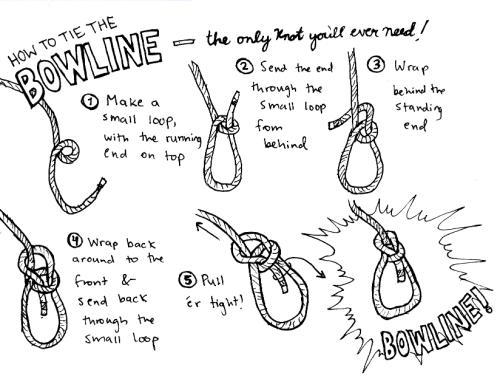 Prompt: knots. A wrench needs to come aloft with you? Bowline through the handle! You're drowning and someone tosses you a line? Bowline around your waist! Forgot how to tie an anchor bend? Bowline! Docking? Bowline! Lassoing trainees? Bowline! Bowlines for everyone!