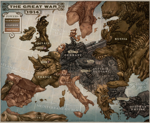 historical-nonfiction:  A caricature of Europe right before WWI. For a full explanation of the imagery for each country, click on the image.