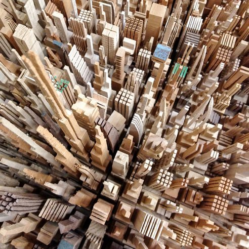 treehugger:  (via Artist's Astounding Architectural Skylines are Made out of Scrap Wood)