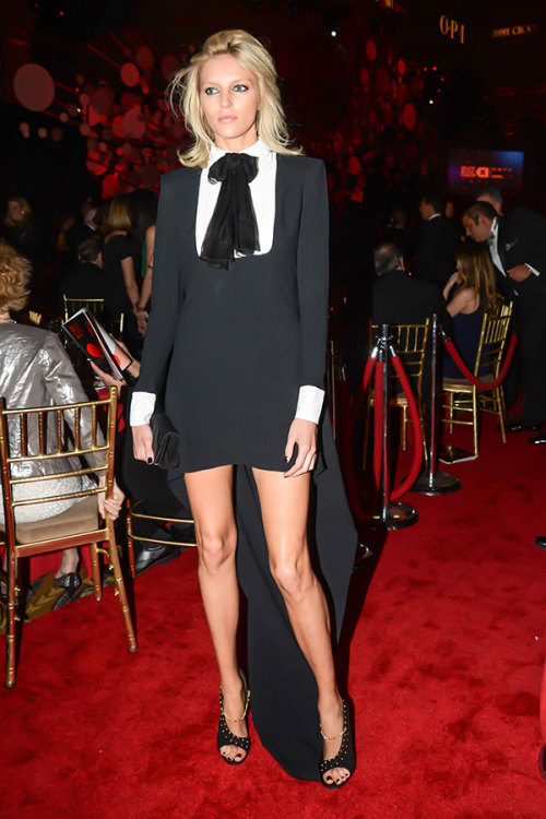 Anja Rubik in Saint Laurent by Hedi Slimane dress and Giuseppe Zanotti by Anja Rubik heels [source: lamodellamafia]