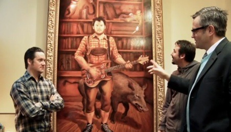 thejeffaquatic:  Painting of modest mouse' Isaac Brock hanging in mayor of Portland's office.
