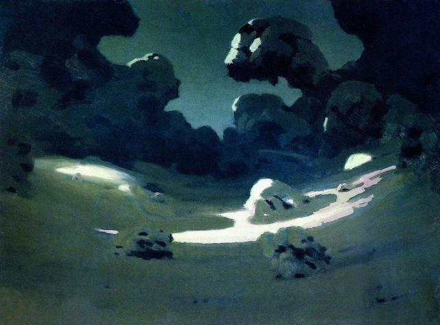 Moonlight in a Forest. Winter, 1908, Arkhip KuindzhiMedium: oil,paper #impressionism#kuindzhi#arkhipkuindzhi