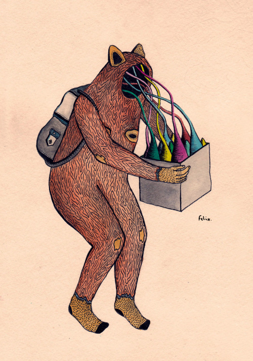 eatsleepdraw:  —(>MY NEW FRIENDS<)— watercolor, ink, pencil