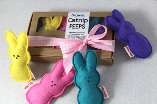 Catnip Peeps Wool Felt Easter Cat Toys by misohandmade on Etsy