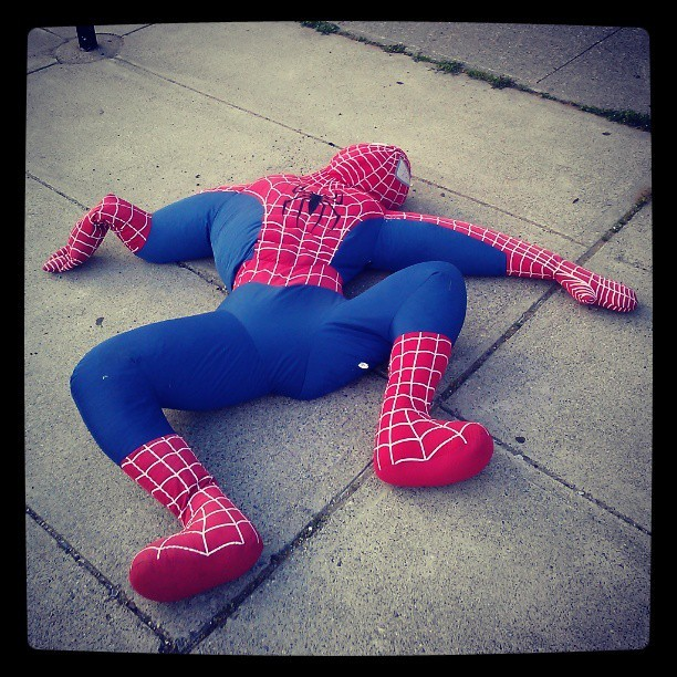 You know your party was wild when you find Spiderman passed out drunk in front of your stoop.