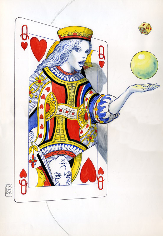 "brianmichaelbendis:  ""Queen of Hearts,"" a watercolor drawing by Milo Manara."