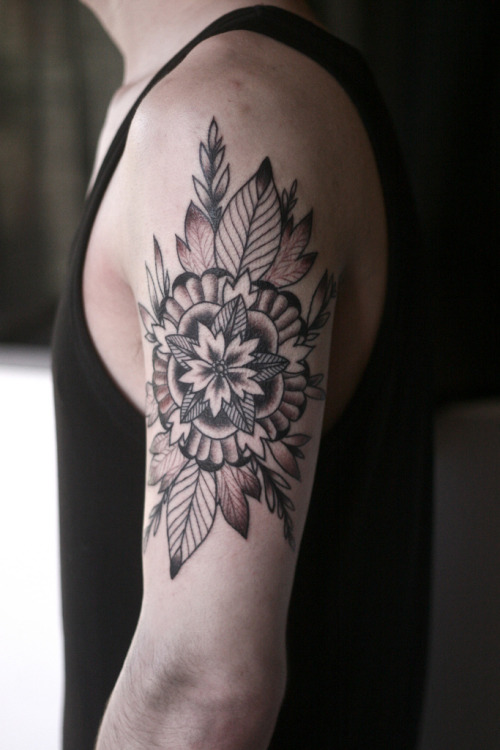 fuckyeahtattoos:  black and grey mandala flower tattoo by alice carrier, at anatomy tattoo in portland, oregon.  alicecarrier.com