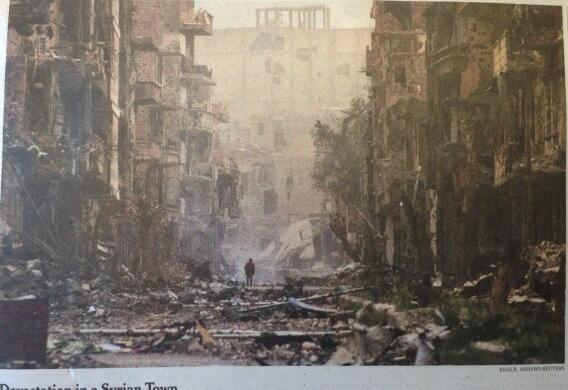 """Front page New York Times [Syria] photo. Apocalyptic."" - @MiaFarrow"