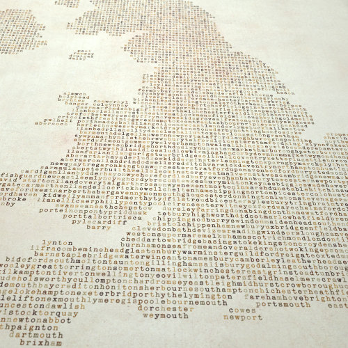 Great Britain UK City Typography Tex Map on Etsy
