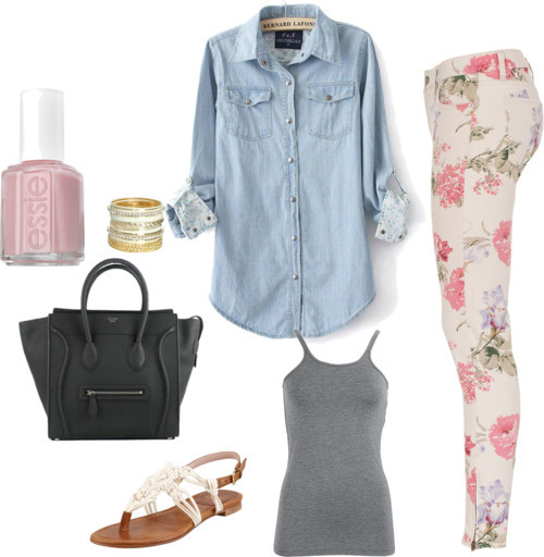 Floral by alarr14 featuring straight jeansT By Alexander Wang  / Denim shirt / Denim & Supply by Ralph Lauren straight jeans, $155 / Stuart Weitzman  shoes / CÉLINE tote bag / Wet Seal  / Essie  nail polish, $15
