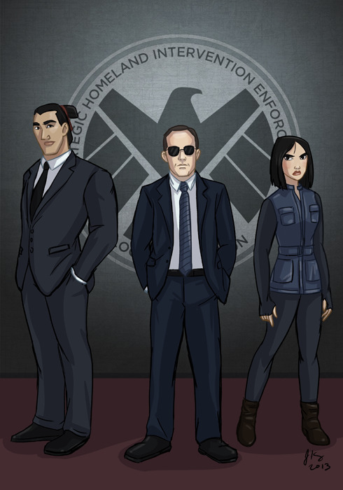 thingsfortwwings:  [Fanart: Li Shang, Phil Coulson, and Fa Mulan all wearing suits and standing side by side, as in a tv promo] jeandrawsstuff:  To be an agent of S.H.I.E.L.D., you must be: 1. Swift as a coursing river. 2. With all the force of a great typhoon. 3. With all the strength of a raging fire. 4. Mysterious as the dark side of the moon. They cast Ming Na Wen in this show, this crossover had to happen. I'd love to see BD Wong in this show as well. You know, just sayin' >.>