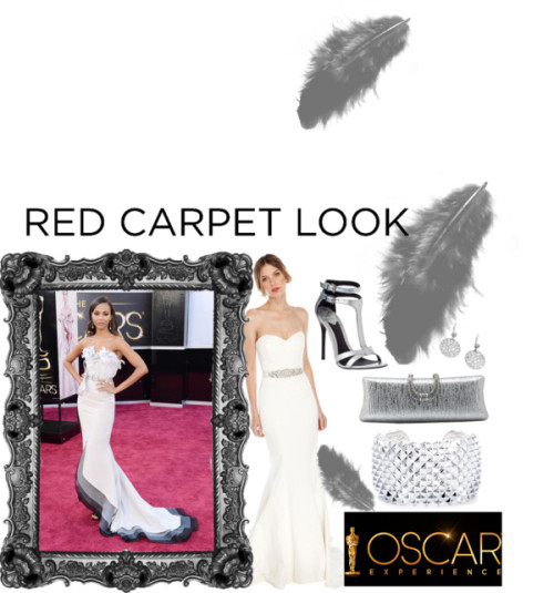 Zoe's Night Out: Oscars 2013 by just-charlene featuring silver clutchesNicole Miller evening wedding dressnicolemiller.comB Brian Atwood snake sandalsjildorshoes.comSilver clutchchicastic.comStephen Webster bangle cuff braceletscoopnyc.comGuess earrings$185 - guess.eu