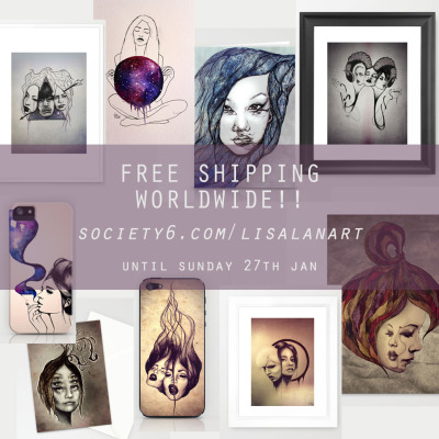 FREE SHIPPING WORLDWIDE until Sun 27th Jan!society6.com/LisaLanArtFramed/Un-framed art prints from mini to x-large, iphone cases, iphone/ipod skins, stationary cards and canvas prints available! ❤