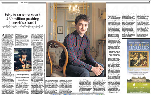 Daniel Radcliffe - The Daily Telegraph article (May 18, 2013) Click here —->  (x)  save the image and read the article :)