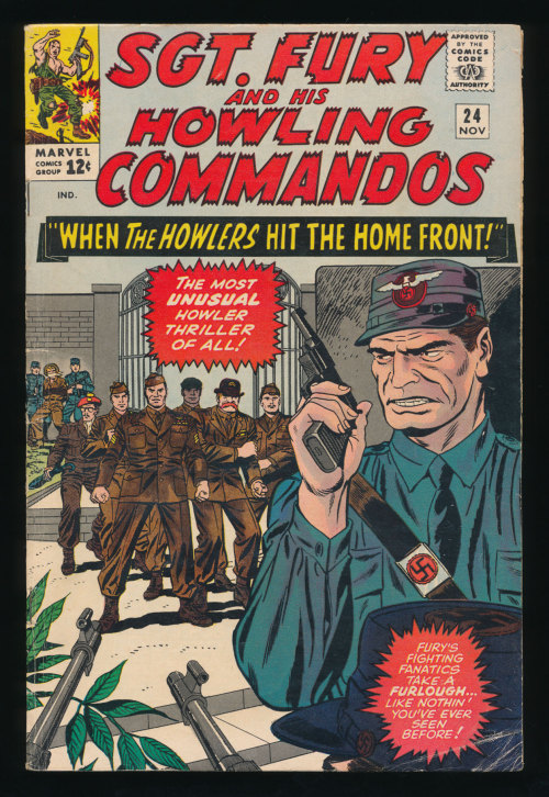"vincentvondoom:  Sgt. Fury and his Howling Commandos #24(Nov. 1965) Not a Kirby cover but still awesome!   the Howlers stumble into Phillip Roth's ""The Plot Against America"""