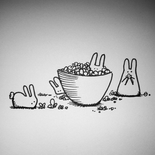 Where have the Bunnies been this week? At the movies eating popcorn. #gummybunnies #littleloboart #inkdrawing #popcorn
