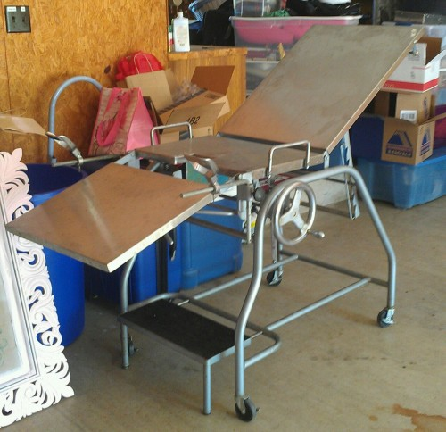 justblamechris:  Vintage Gyno exam table I picked up for $10. The plan is to repurpose it as a kitchen island. Thanks to Tara for that idea! Tagging Denise for gyno reasons.
