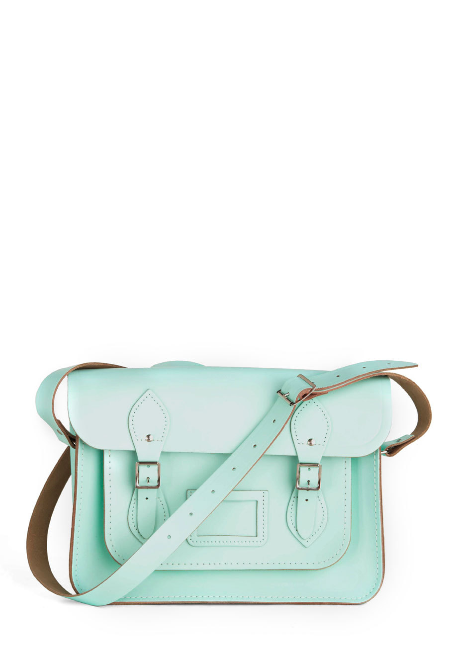 pastelcase:  Satchel in Mint $174.99 Also available in Lilac and Lemon.