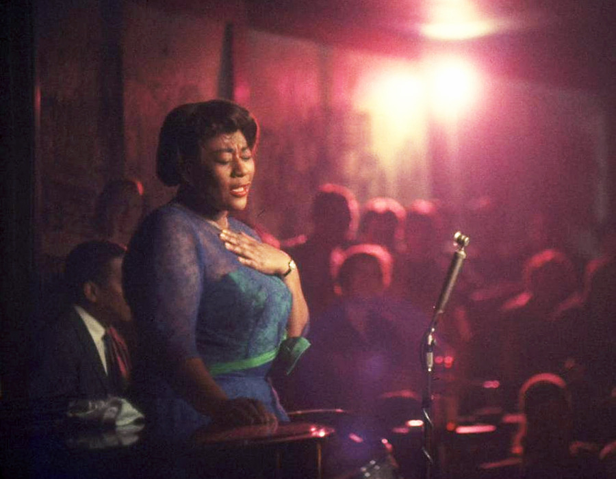 Ella Fitzgerald; performing at Mister Kelly's nightclub, Chicago, 1958.