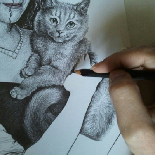 Happy Monday! #Drawing til I drop & wishing you all a beautiful day! #cat #pencil #portrait #cute #realism #imagination #artist
