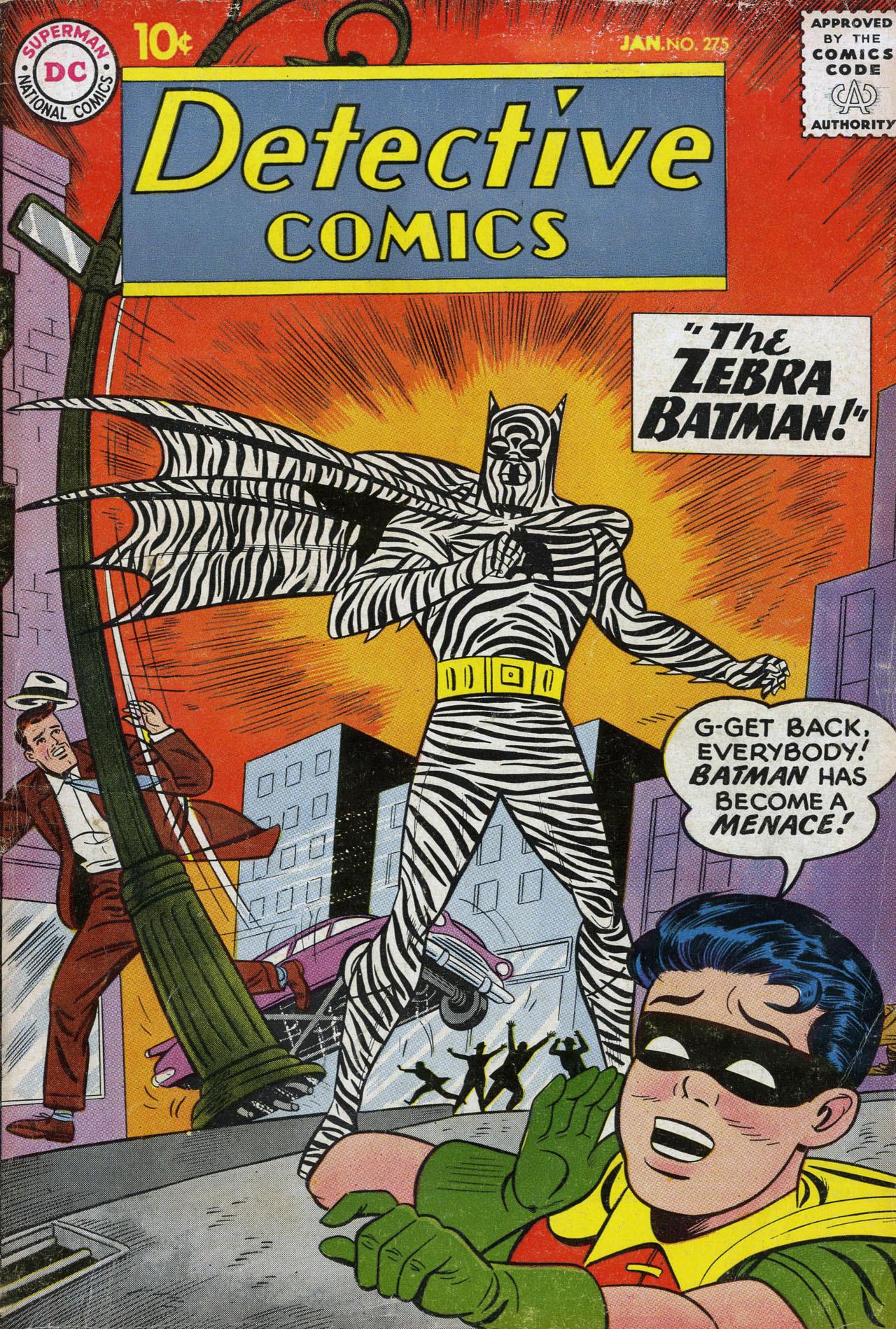 comicbookcovers:  Detective Comics #275, January 1960, cover by Sheldon Moldoff  BATMAN has become a MENACE! A fabulous, fabulous menace.