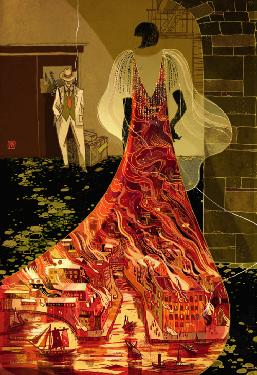 racialicious:  iconoclassic:  Victo Ngai (via Mystery and Science Fiction)  Gorgeous use of negative space.