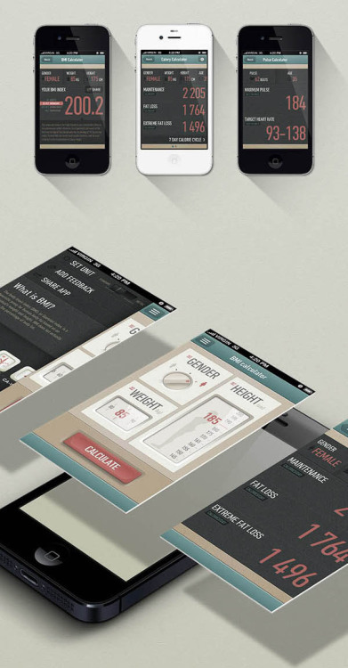 weandthecolor:  App Design Some creative iPhone medical app and user interface designs by Gabor Jutasi and Daniel Kövesházi for a BMI Calculator, a Calorie Calculator, and a Pulse Calculator. More images of the app design on WE AND THE COLORWATC//Facebook//Twitter//Google+//Pinterest