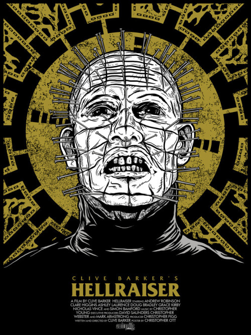 "Poster Per Diem: Christopher Ott's Hellraiser Movie Poster  First things first, if you're a fan of horror films in any way, shape or form, stop everything you're doing and visit Christopher Ott's London 1888 Big Cartel store right now. The guy has a veritable treasure trove of fantastic prints that are astonishingly affordable given how great they look. Now that that's out of the way, let's briefly talk about Ott's terrifying Hellraiser illustration. Suggesting that Pinhead may be a saintly figure of sorts by situating him in front of the strategically placed Lament Configuration (halo) backdrop is truly inspired and immediately reminded me of the lead Cenobite's response to Kirsty Cotton's asking who the extradimensional beings were. ""Explorers in the further regions of experience,"" he says. ""Demons to some. Angels to others."" Christopher's design, much like Pinhead's answer, is concise, engaging, and completely unsettling (and I mean that in the best way possible).  Click here to read more 