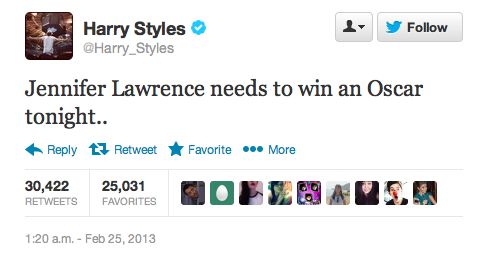 jenniferlawrencedaily:  Harry Styles is rooting for Jennifer!