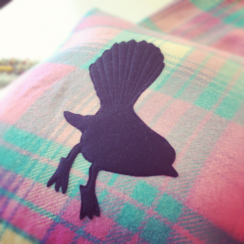Cushion making today using old wool blankets & felt. This fantail design was my favourite!