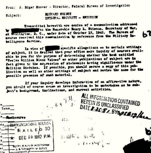 "The letter that opened author Richard Wright's FBI file in 1942 for his work ""Twelve Million Black Voices""."
