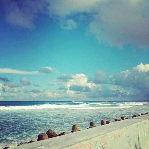 Surfs up!  #surf #today #sky #blue #clouds #sea #wave #surfers #waves