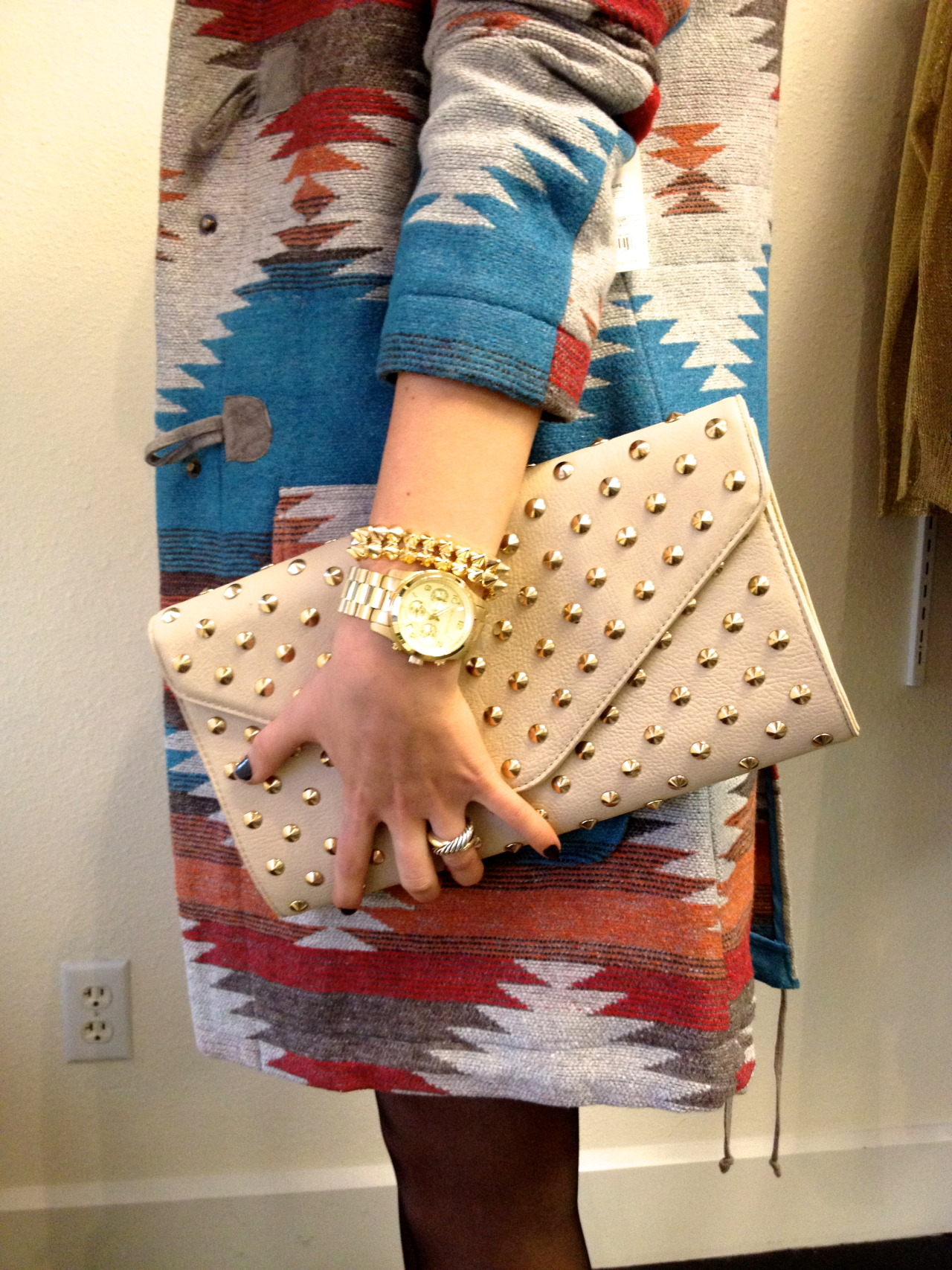 Clutch Candy Beehive clutch, BB Dakota coat, Michael Kors watch, Beehive bracelet, David Yurman ring Austin, Texas
