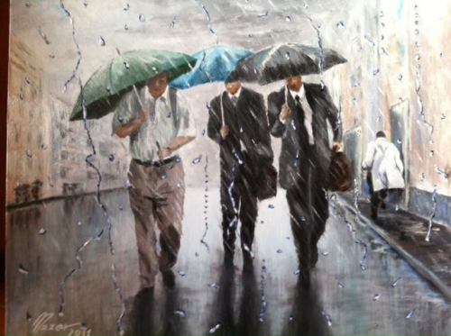 Lunch Break  by  Fausto Nazer~ oil painting on canvas
