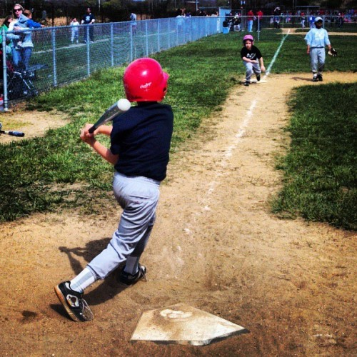 His last at-bat, a pop fly to center field. #garrettreade #littleleague #thatsmyboy