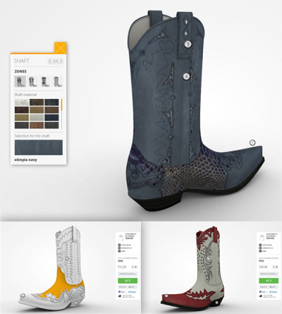 Sendra Custom Boots - Stage3D powered Boots Customizer  Sendra Custom Boots is a brand new customizer designed to help users to create their dream boots, it offers a full 3D experience that allow to assign and change custom materials to any part from a selected boot.