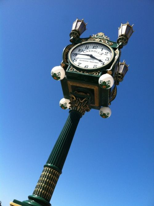 The old Carroll's clock, now out in front of the MOHAI.