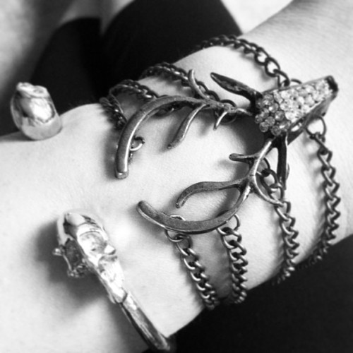 Love me deer and skull bracelets! #accessories #skulls #deer #bracelets #armcandy