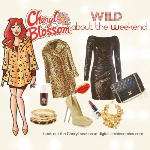 archiecomics:  Cheryl's Wild About the Weekend Wear by fashionofarchiecomics featuring platform high heels Hale Bob sequin cocktail dress, $245 / Sergio Rossi platform high heels / Chanel black handbag / Hervé Van Der Straeten gold plated jewelry, $2,150 / Indian ring / Forever 21 braided bracelet / MAC Cosmetics nail lacquer