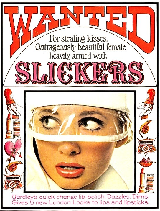 sweetjanespopboutique:   Vintage advert-Yardley 'Slickers' (1966). Image scanned by Sweet Jane.