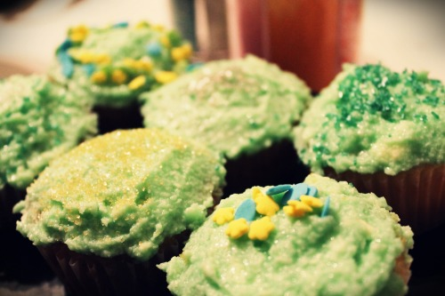 Instead of doing my shitload of homework, I made Shamrock Cupcakes. Vanilla cake with homemade mint buttercream. Nomnomnom.